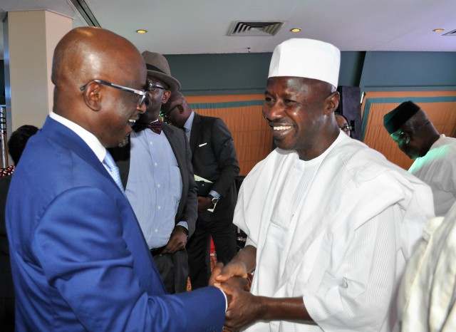 L-R: Member of the Justice Reform Project (JRP), Dr Adewale Olawoyin (SAN) and the Acting Chairman of the Economic and Financial Crimes Commission (EFCC), Mr Ibrahim Magu during JRP's Public Discourse on Justice Delivery in Nigeria; A Framework for Reform, in Abuja...on Friday