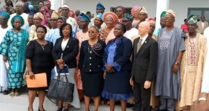 The Ogun State Chief Judge, Justice Mosunmola Dipeolu with the newly sworn-in customary Court Presidents and members...