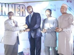 L-R: Outgoing Group Managing Director of NNPC, Maikanti Baru; Managing Director, The Shell Petroleum Development Company of Nigeria Limited (SPDC) and Country Chair, Shell Companies in Nigeria, Osagie Okunbor; Manager, Nigerian Content Development, Olanrewaju Olawuyi; and Manager, Government Relations, Abubakar Ahmed, at the presentation of the Award to Shell in Abuja...on Wednesday