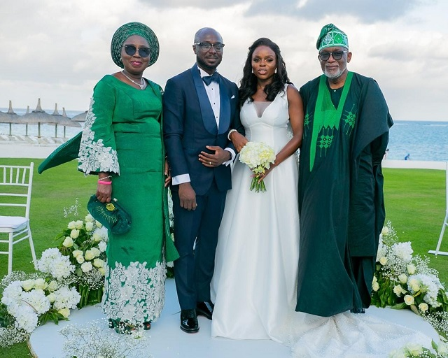 Image result for rotimi akeredolu and his daughter's wedding in mauritius