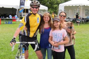 Peter and Family after 150 mile bike ride four and a half months post surgery
