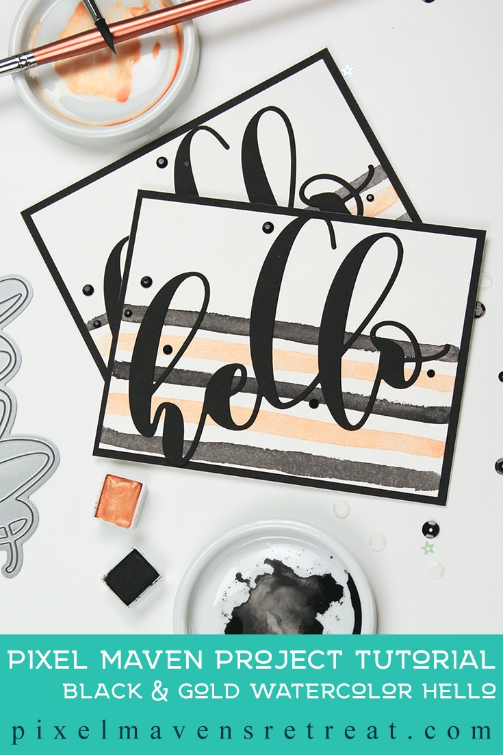 Festive Friday: Black & Gold Watercolor Hello