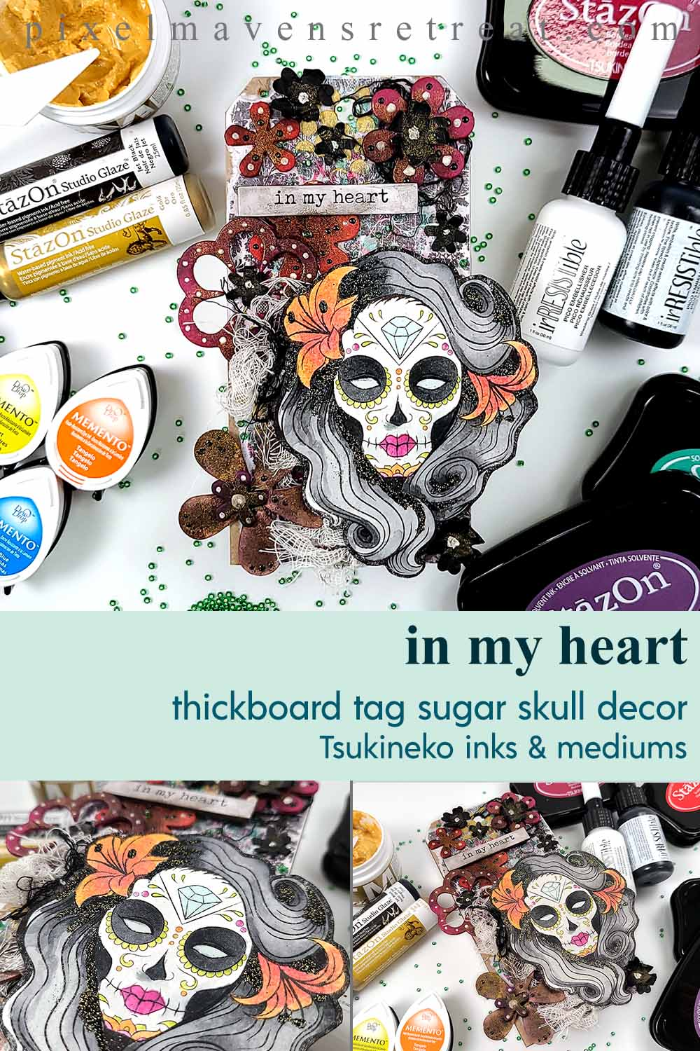 Día de los Muertos (Day of the Dead) Mixed Media Tag