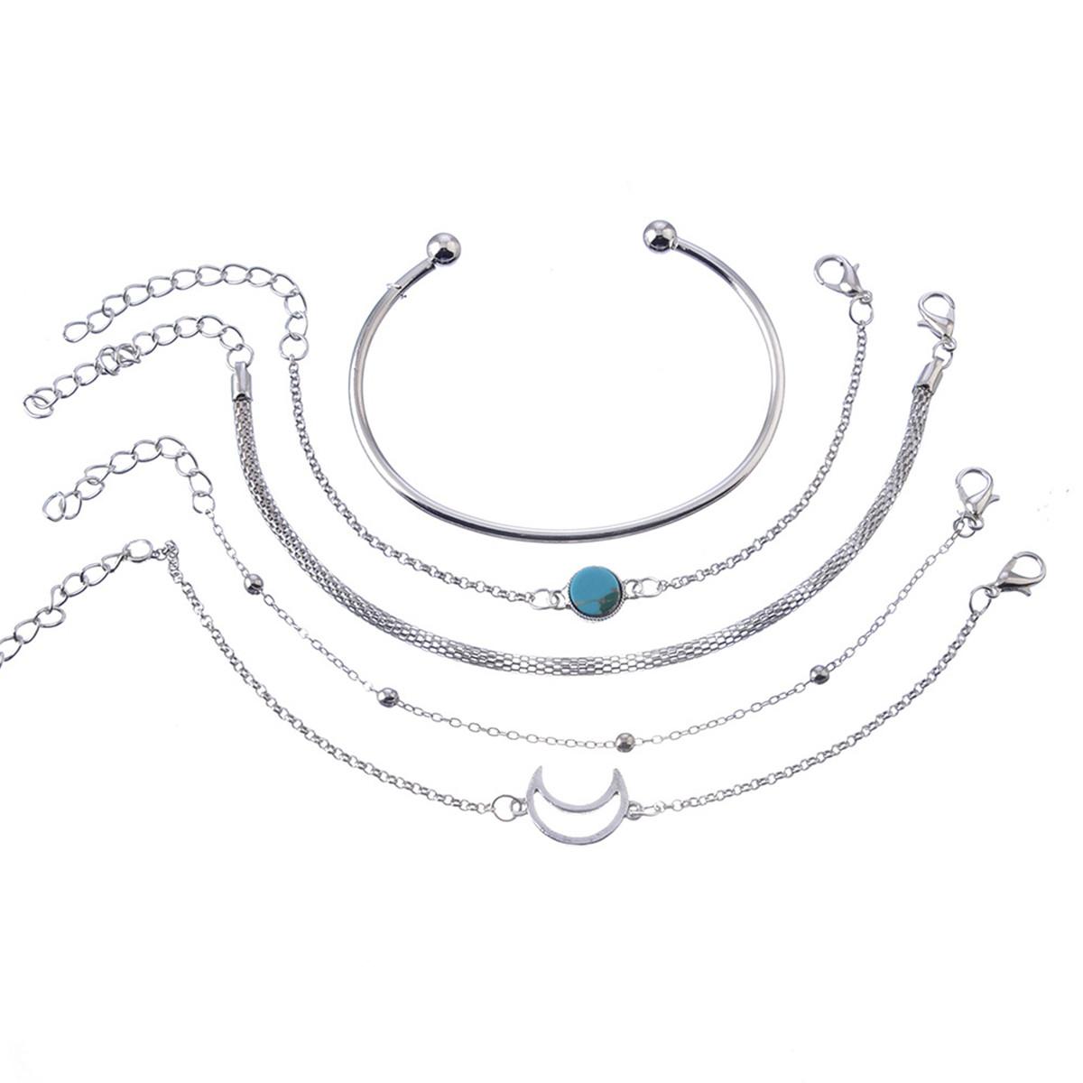 Inlaid Turquoise Simple Five Piece Set Hand Chain Nalaline