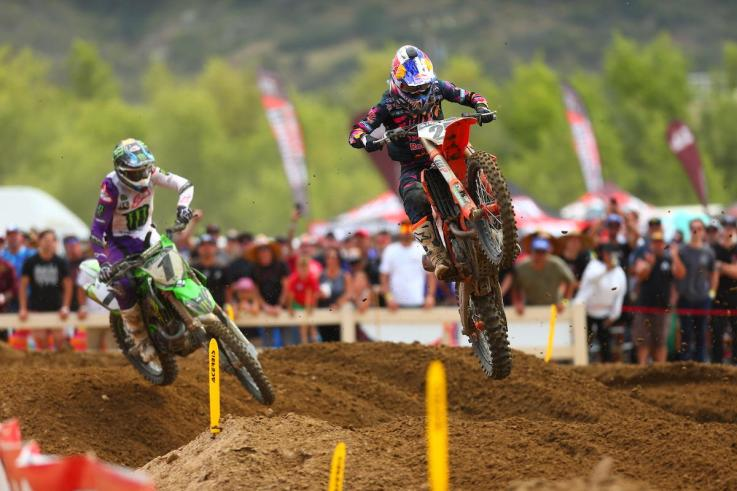 Musquin (front) was in the mix for victory in both motos.