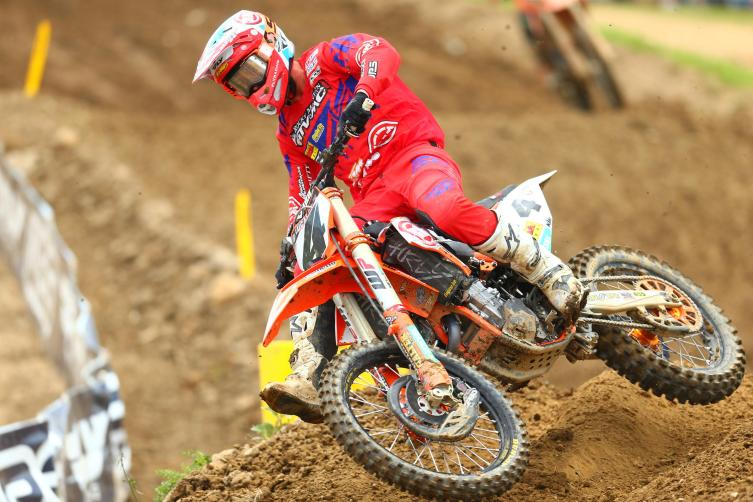 Baggett walked away with the first moto win, but could only muster 15th in moto two.
