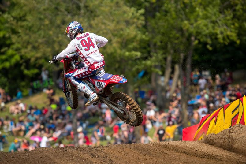 Ken Roczen rebounded from a hard crash in Moto 2 to finish fourth overall (2-6) on the day.