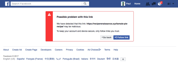 The Dreaded Facebook Malicious Link Warning