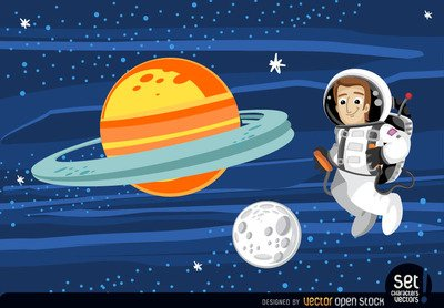 Free Astronaut floating in outer spaces Clipart and Vector