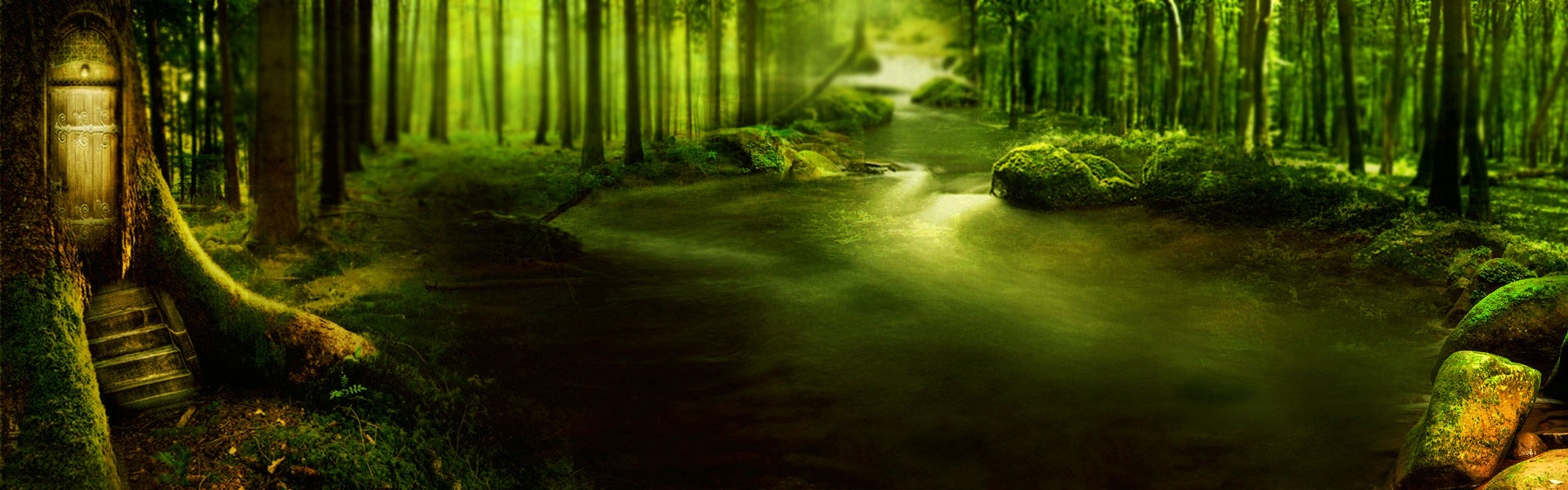 Science Fiction Fantasy Forest Green Background Dream Science Fiction Background Image For