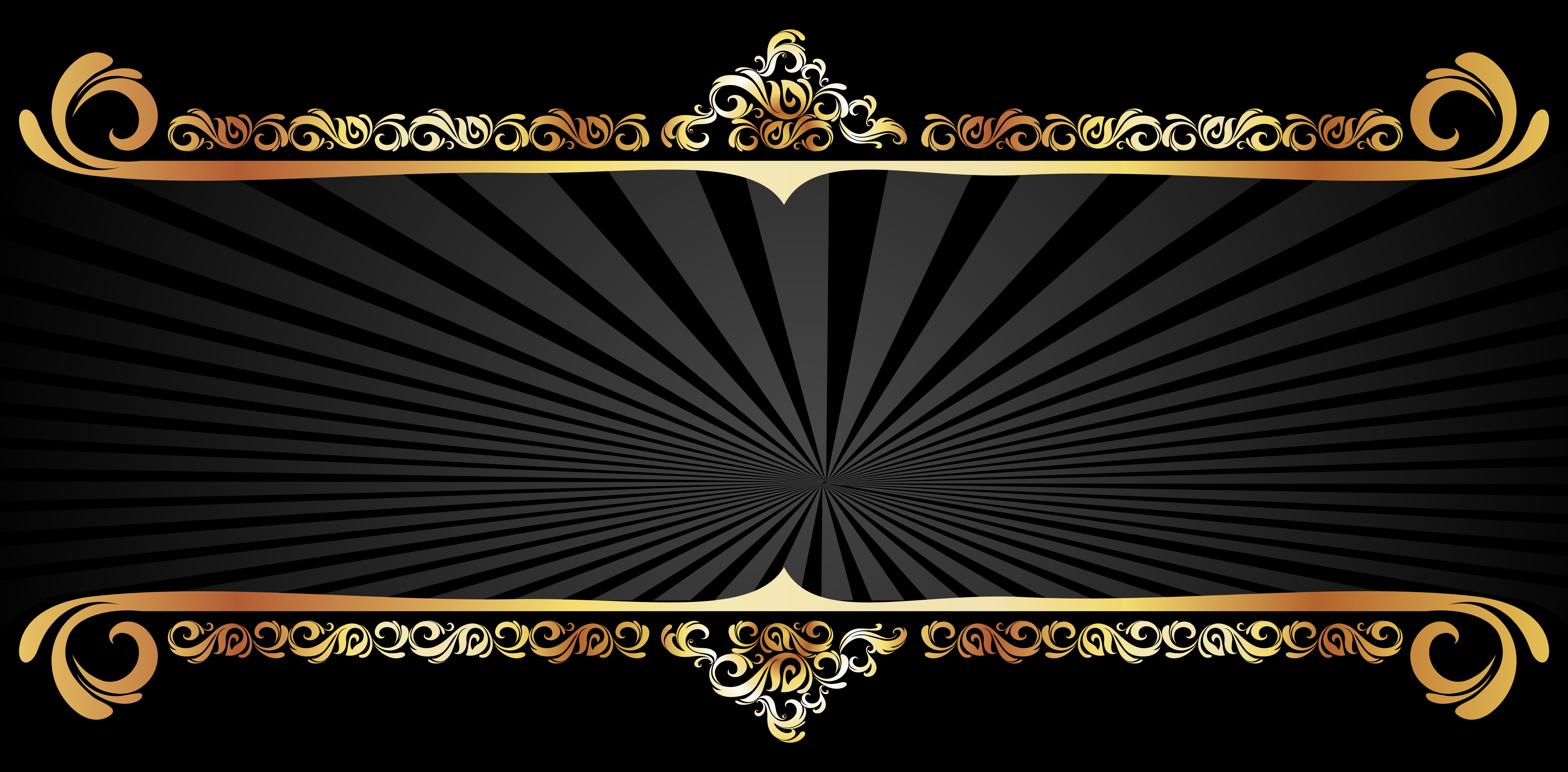 Vector Gold Pattern Frame Black Textured Background