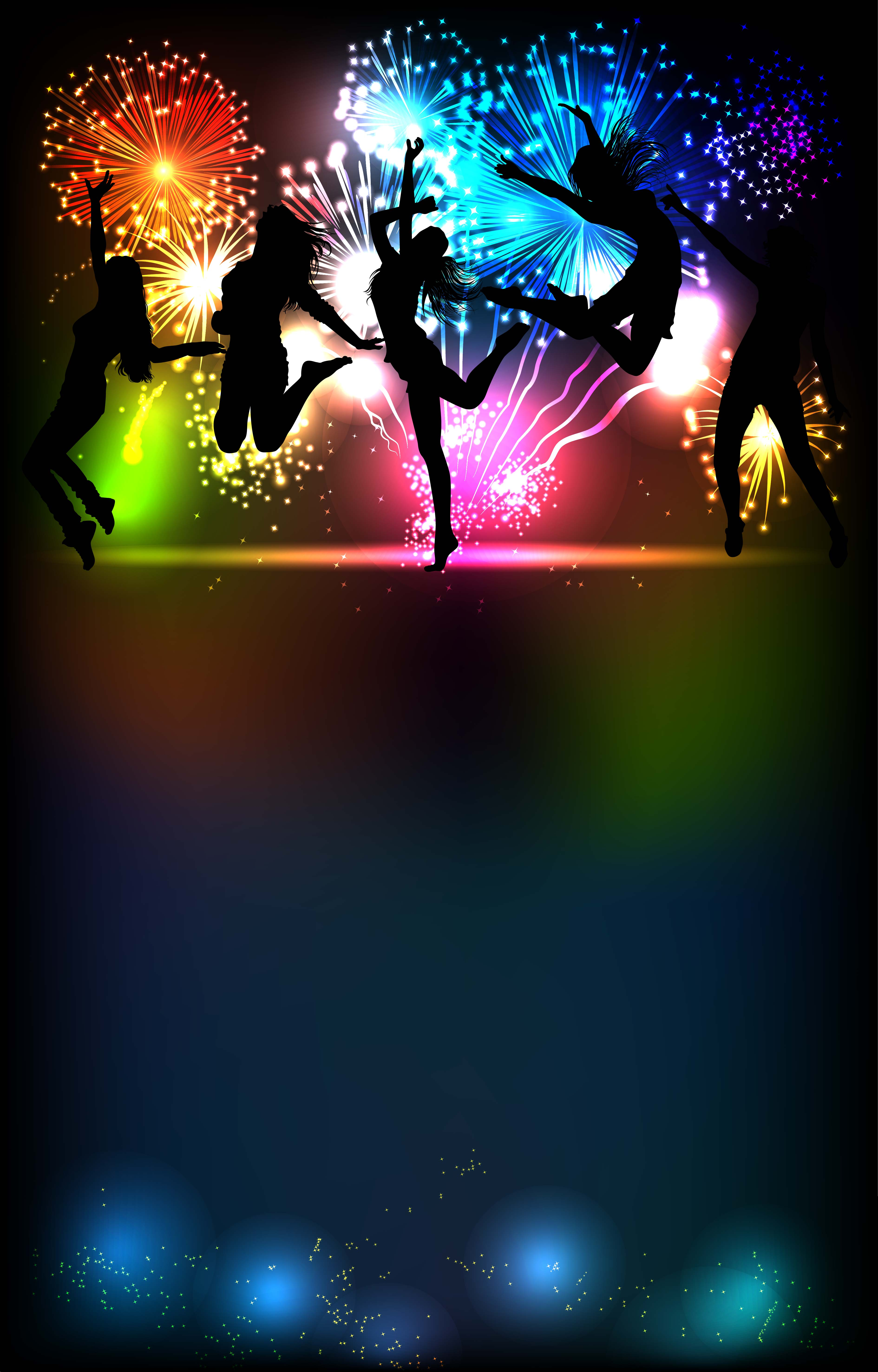 Disco Dance Night Party Background Laser Silhouette