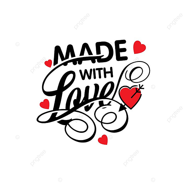 Made With Love Vector Valentines Day Heart PNG And
