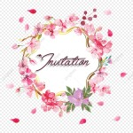 Invitation Floral Frame Floral Clipart Pink Flowers Frame Png And Vector With Transparent Background For Free Download