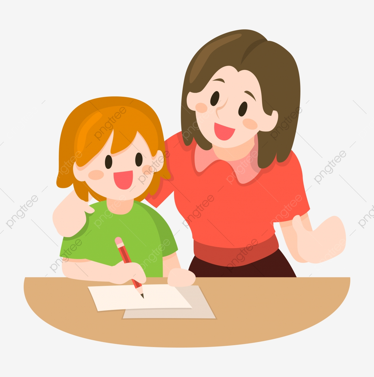 Mother Teaching Her Children Illustration Write Study Teach Png And Vector With Transparent Background For Free Download
