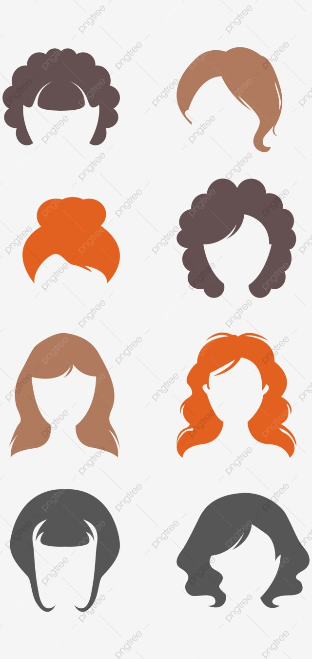women over one hairstyle and hair color, color clipart
