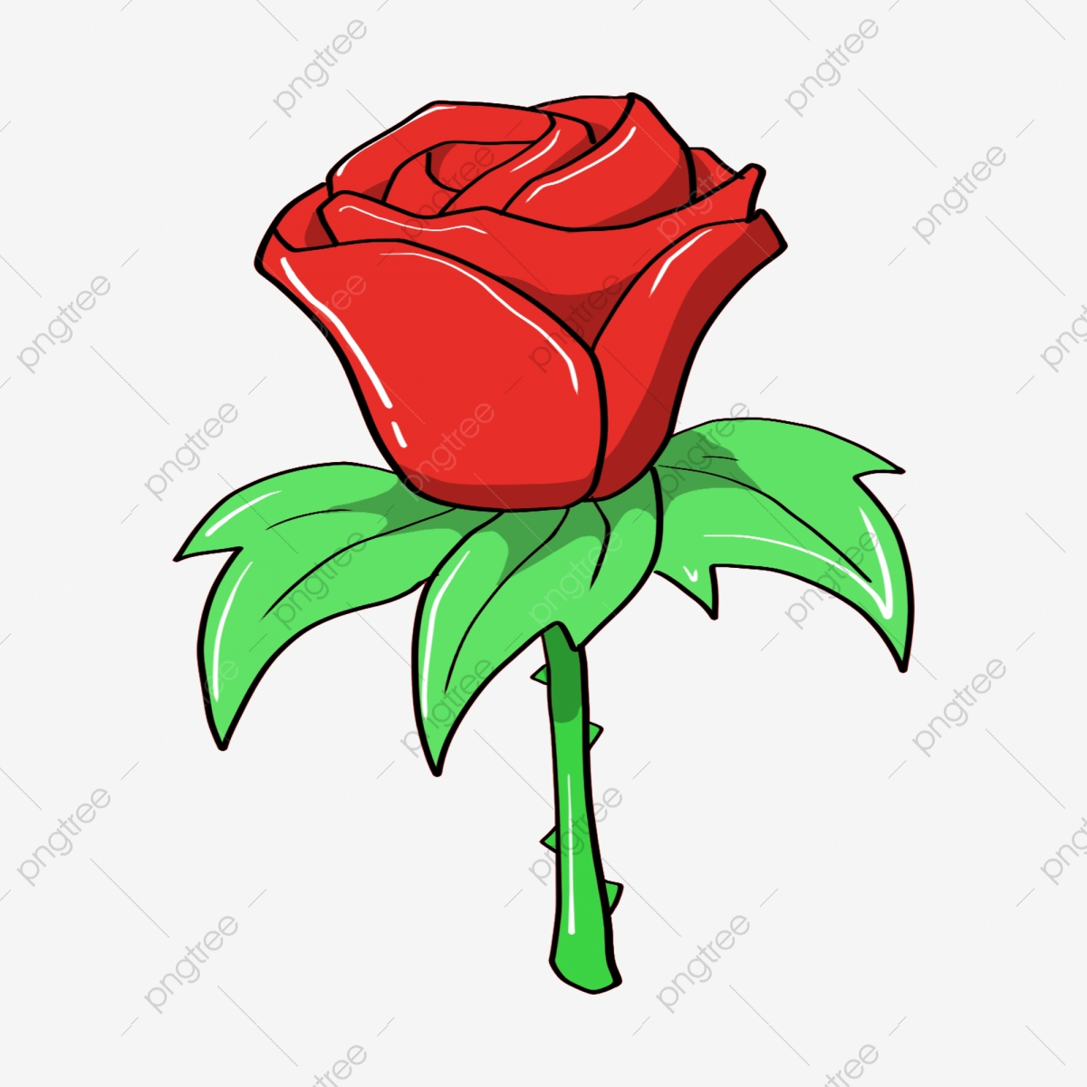 Cartoon Flower Red Flower Rose Love Related Flower Plant Background Decoration Illustration Png Transparent Clipart Image And Psd File For Free Download