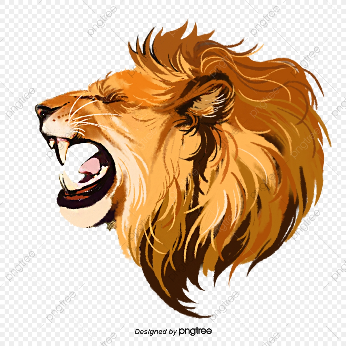 Hand Painted Elements Of Lion Roar Beast Male Lion Ferocious Roar Png Transparent Clipart Image And Psd File For Free Download
