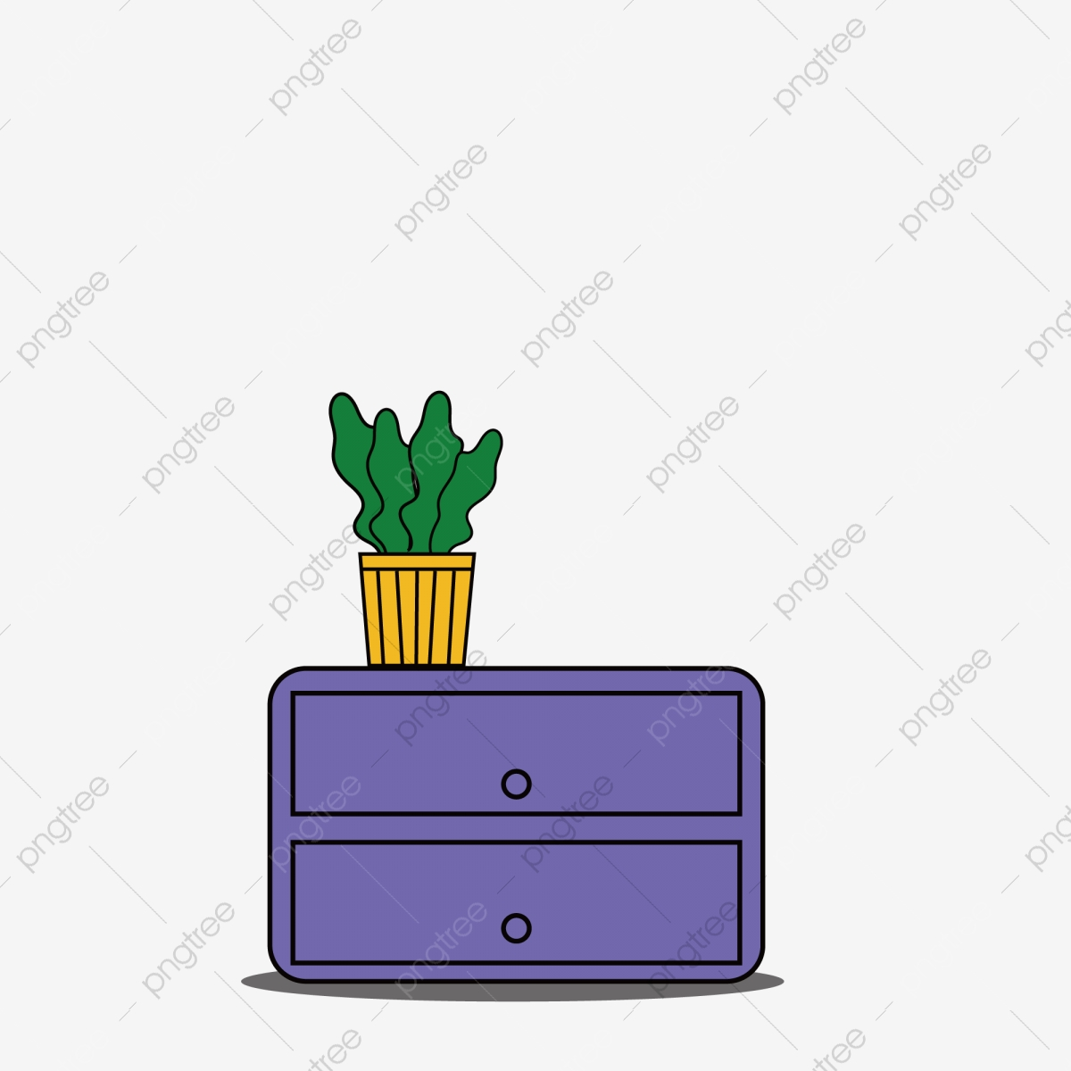 Purple Cabinet With Green Plants Free Of Charge Cartoon