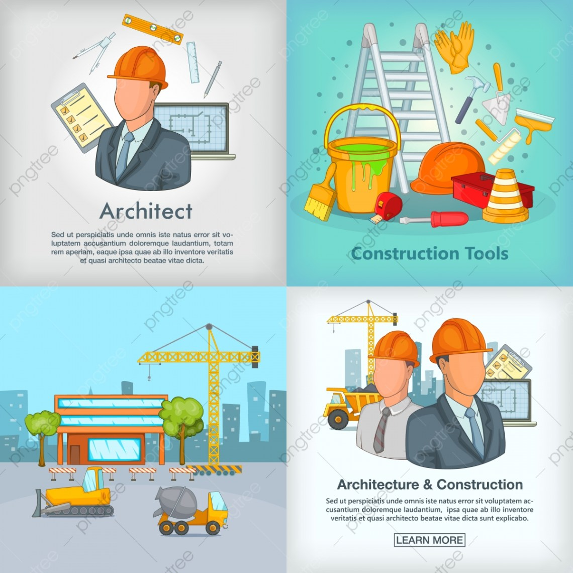 Architecture Banner Set Cartoon Style Architect Construction Banner Png And Vector With Transparent Background For Free Download