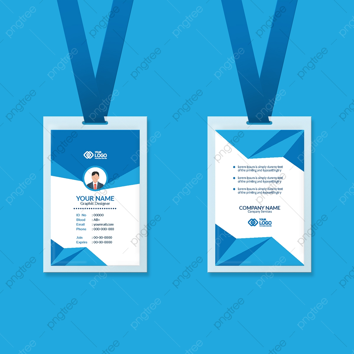 Professional employee identity badge with man. Employee Id Card Design Template Template Download On Pngtree