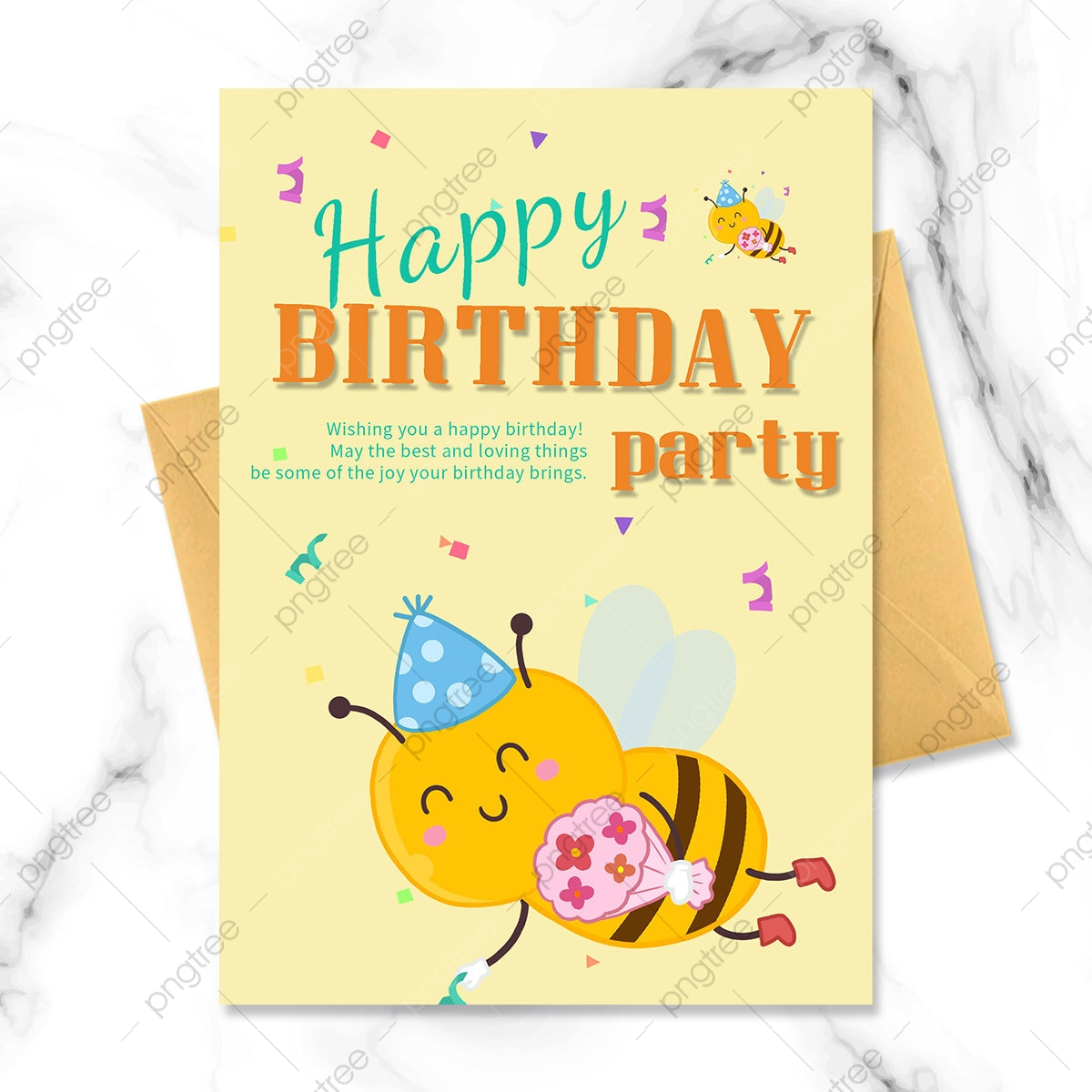 birthday party invitation with cartoon