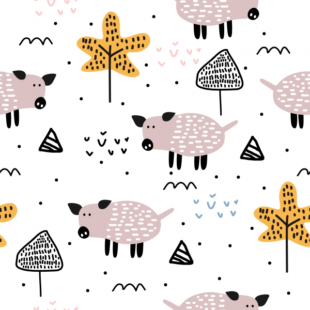 https fr pngtree com freepng cute pig hand drawn seamless pattern vector illustration trendy scandinavian drawing on white background ready for fashion textile baby and kids apparel 4836392 html