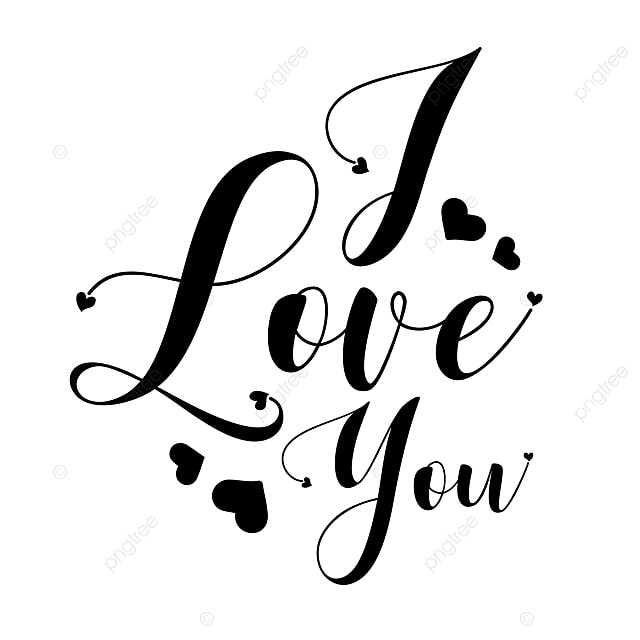 Download Black And White I Love You Valentine Lettering, Happy ...