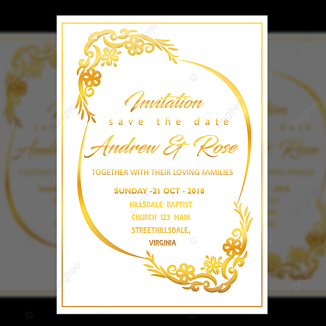 White Wedding Invitation Card Design Template With Gold Floral Frame Template For Free Download