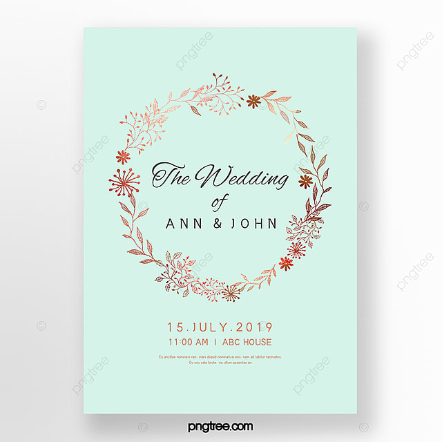 Simple Wedding Invitation Letter With Elegant Lace Mint Blue