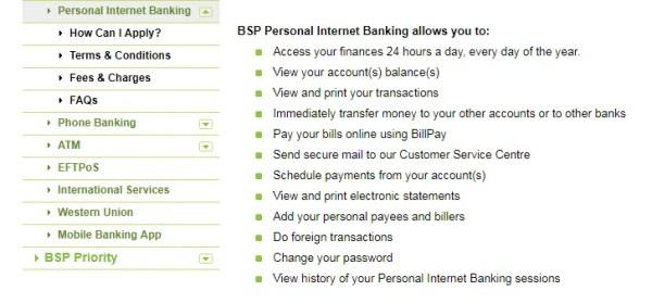 BSP online banking