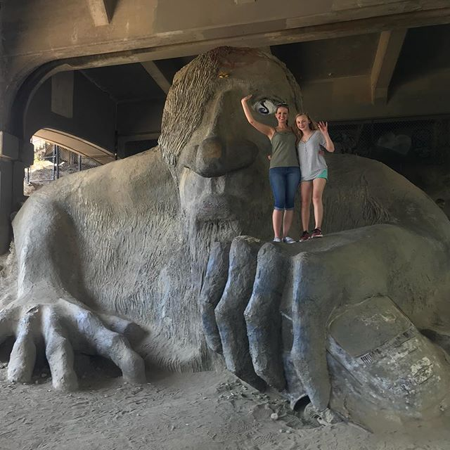 Visiting the Fremont Troll under the bridge