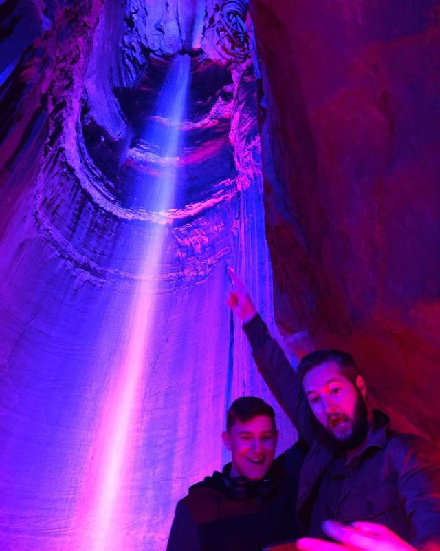 1,120 feet underground is a 145 foot high underground waterfall called Ruby falls