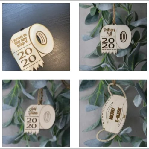 2020 birch wood covid pandemic humorous ornaments