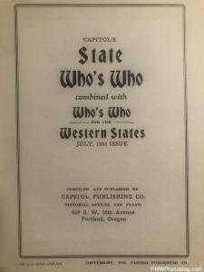 Capitols - State Who's Who for Oregon - 1953