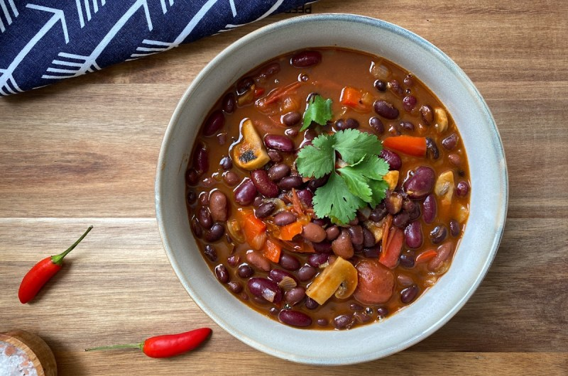 Bowl of Vegan Chilli Con Vegetables