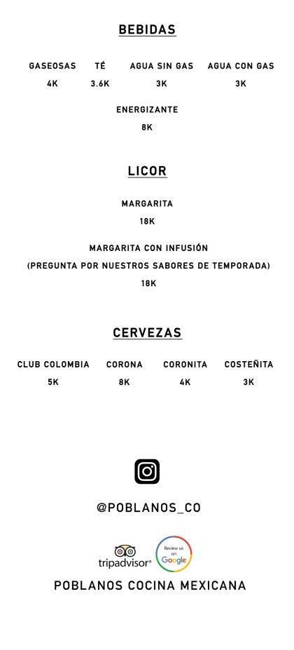 Poblanos Cocina Mexicana Menú de Bebida