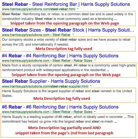 Meta Description tag snippets