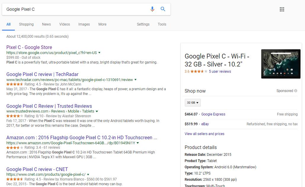 Google Pixel C Tablet SERP