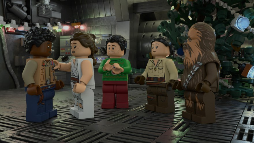 Finn, Rey, Poe, Rose and Chewbacca Celebrating Life Day
