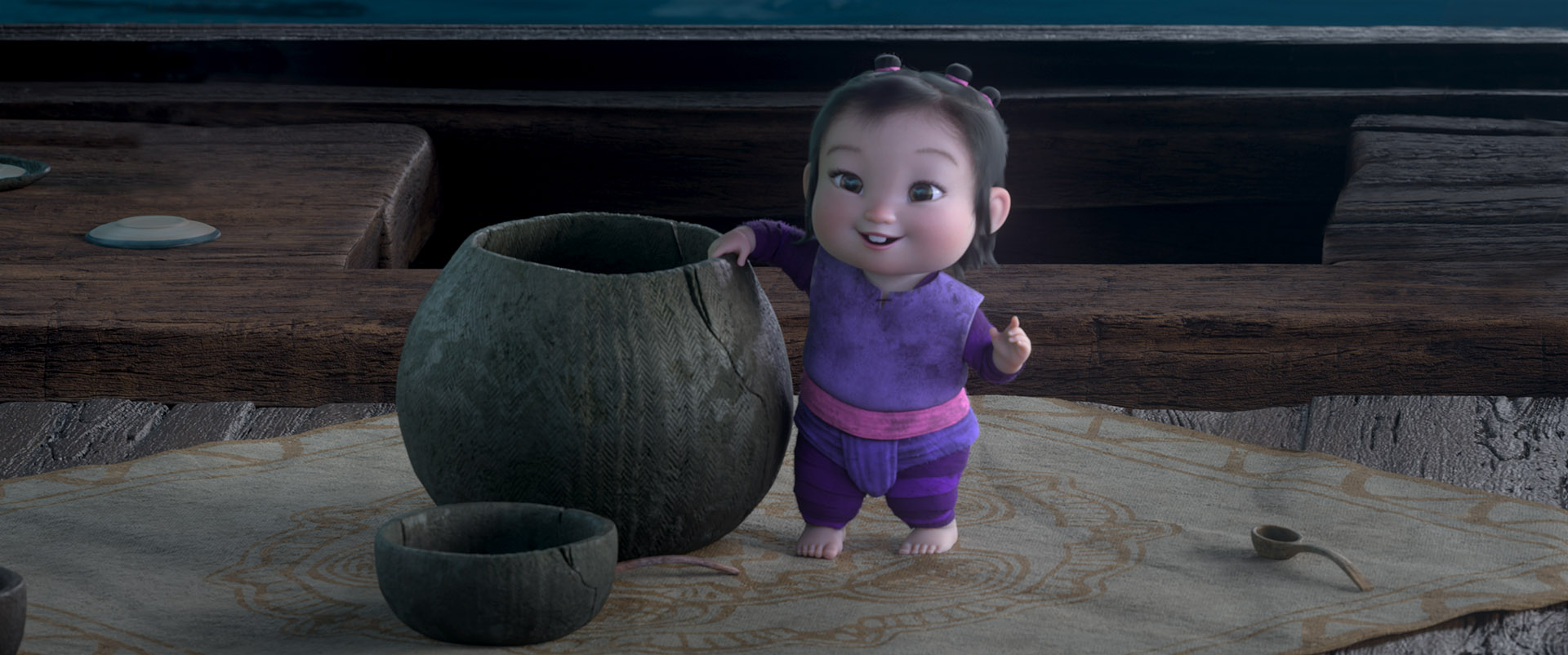 RAYA AND THE LAST DRAGON - Noi is a thieving toddler with a band of Ongis. © 2020 Disney. All Rights Reserved.