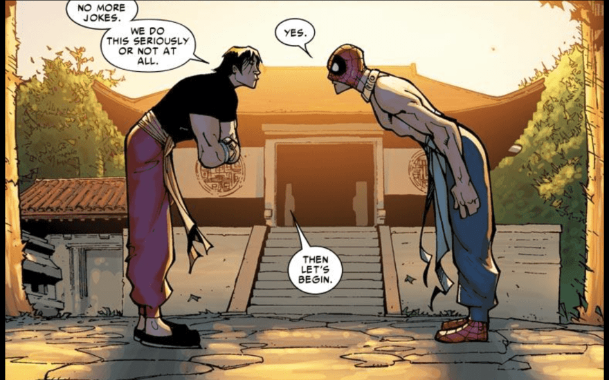 Shang-Chi training Spider-Man from Free Comic Book Day (Spider-Man) 2011 #1