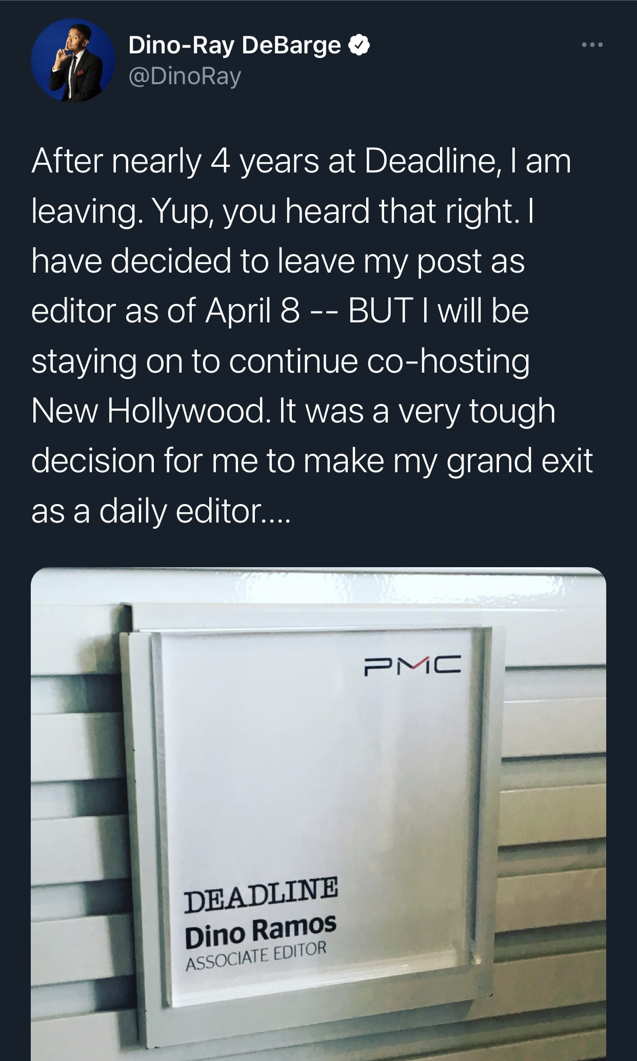 Dino-Ray Ramos' Twitter Announcement of Leaving Deadline