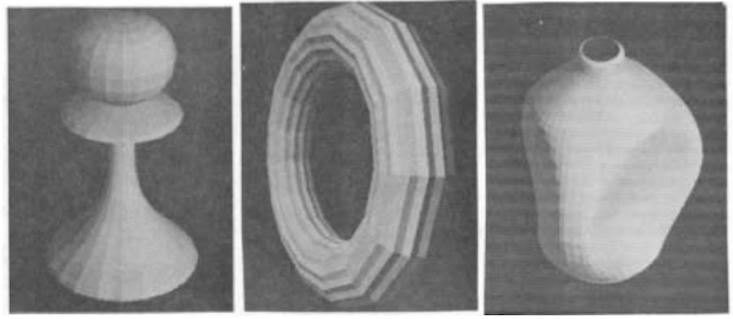Trois rendus 3D, représentatifs de la pratique courante avant l'arrivée de la théière. Tous sont tirés d'un article de 1972 de Newell.