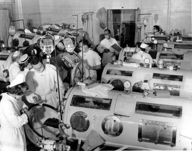 Un service de polio au Haynes Memorial Hospital à Boston en 1955