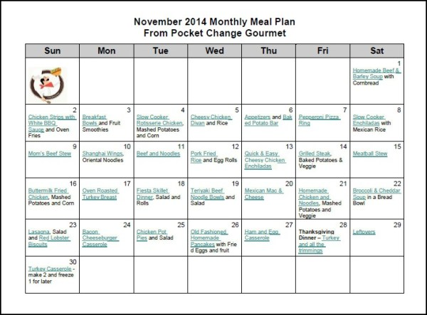 November Monthly Meal Plan: 2014 | Pocket Change Gourmet