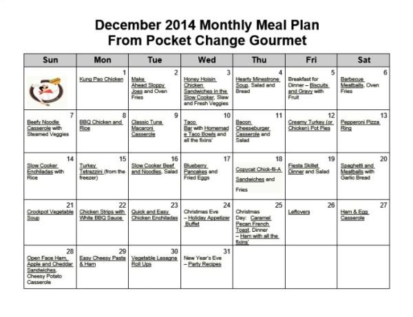 December Monthly Meal Plan:2014 | Pocket Change Gourmet