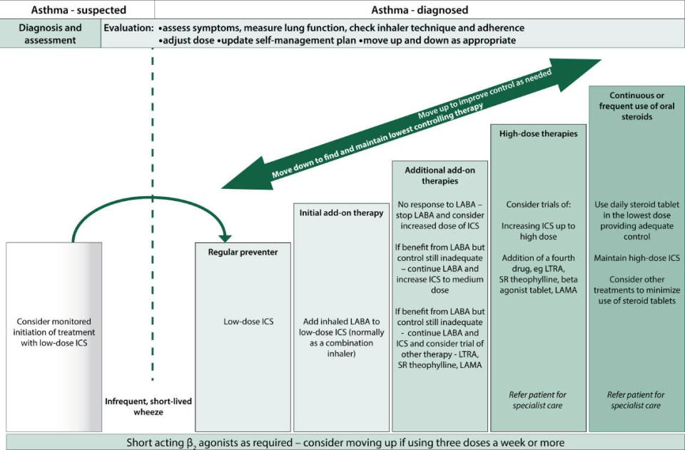 Illustration of The British Thoracic Society/Scottish Intercollegiate Guideline Network five-step asthma management plan.
