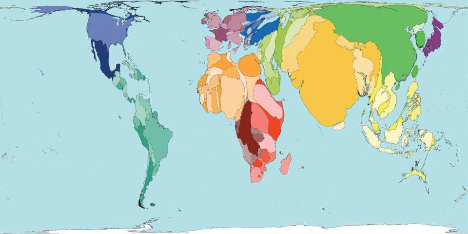 World map displaying the global population prediction: 2050.