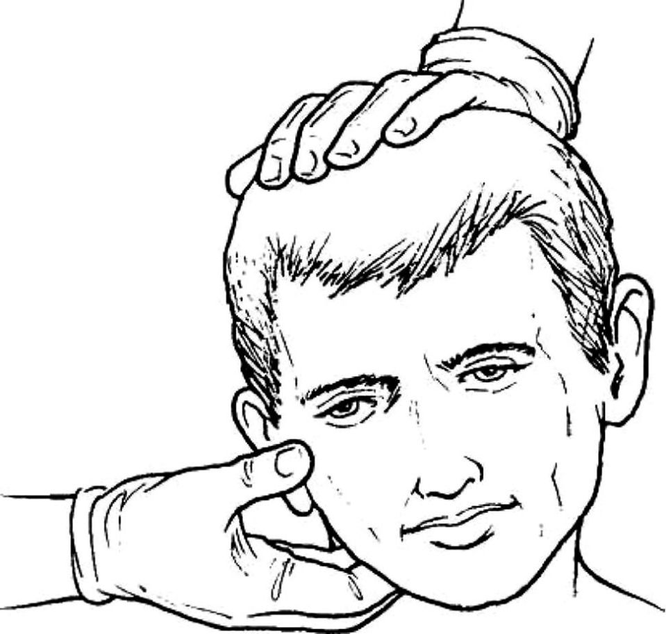 Line drawing of a face tipped to the left side assisted by hands on top and below the chin.